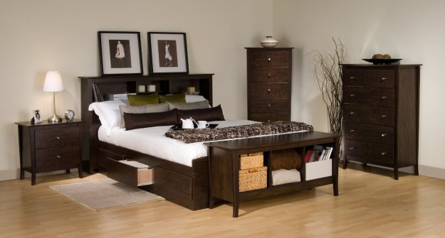 Espresso Manhattan Queen Platform Storage Bed by Prepac