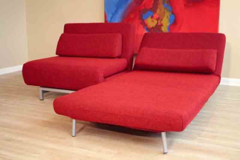 Red Quintiliano Convertible Sofa Bed by Baxton Studio ...