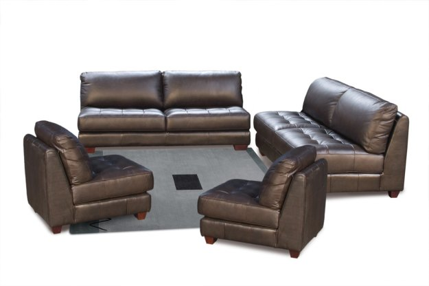 Left Facing Chaise Sectional Sofa With Ottoman by Diamond Sofa