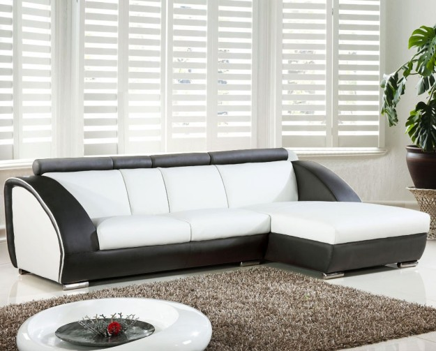 White Bonded Leather Sectional Sofa with Storage by Tosh Furniture