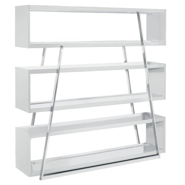 White Kira Modern Shelving Unit by Nuevo