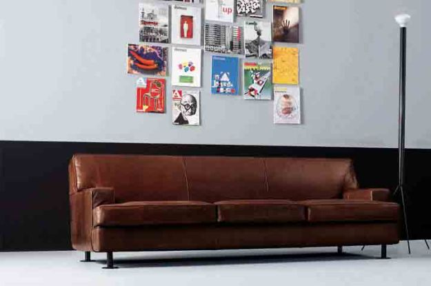 Square Design Leather Sofa by Marco Zanuso